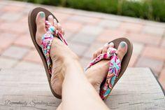 Turn cheap plastic flip flops into beautiful Fabric Flip Flops