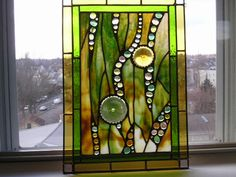 - Green - Gold -  Green and Gold Rondels - Abstract -$165.00,  18 by 13