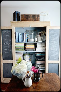Use an old armoire to store books, magazines, and craft/office supplies. Paint the insides of the doors with chalkboard paint and you'll have a handy memo board too. Use baskets and interesting containers to organize your supplies and it will look pretty even with the doors open.