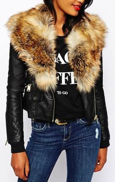 jacket with fake fur collar Cropped Leather Jacket, Fur Jacket, Black Biker Jacket, Suede Jacket, Moto Jacket, Motorcycle Jacket, Fur Collars, Black Coats, Short Pattern