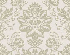 Sample Traditional Damask Wallpaper in Beige and Green design by BD Wall