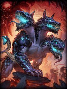 Cerberus- Three Headed Hound, Warden of the Underworld & Enforcer of Hades Monster Art, Monster Concept Art, Fantasy Monster, Mythical Creatures Art, Mythological Creatures, Magical Creatures, Fantasy Kunst, Dark Fantasy Art, Fantasy Character Design