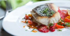 Line-hooked striped bass with parsnip puree, glazed carrots & blood orange vinaigrette - Chef Chris Hallahan
