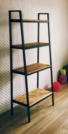 Wal-Mart has this but not with wood- IKEA LERBERG hacks