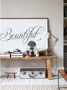 Beautiful - Calligraphy Poster - Black and White - Inspiring Typography Print - Quotes