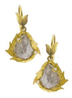 Laurie Kaiser Lemongrass Rose Cut Diamond Earrings. www.lauriekaiser.com