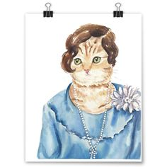 """Constance"" Deidre Wicks Toronto, Ontario, Canada  This painting is available to purchase in our Winter Exhibit - http://pussiesonparade.com/exhibits/  #cat #catart #cats #art #painting #illustration #watercolor"