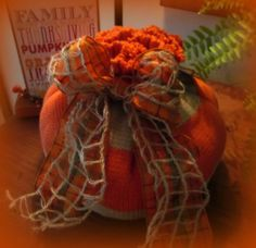 Fall Decor Upcycled Sweater Pumpkin by TheJoyofaSimpleHeart, $22.00