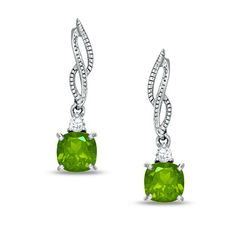 Peridot + White Topaz Twist Drop Earrings