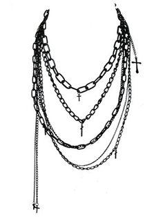 Multi-chain cross necklace