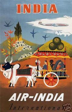 """Reproduction of a Vintage Style Air """"India"""" Travel Poster from 1950's #Vintage"""