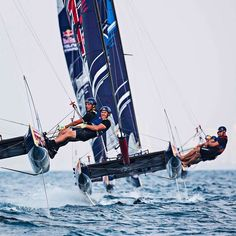 With four on the same track #sailorsworld #sailing #catamaran #sailboat #sail #boat #sails #sailors #amazing #cool #smile #happy #fun #water #sea #ocean #nautical #yacht #yachtlife #yachting #instagood #beautiful #beauty #like #photooftheday #picoftheday #redbull #foiling #summer by sailors_world
