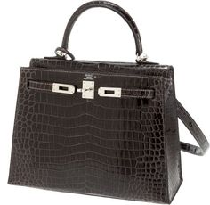 $31, 350.00 Hermes 25cm Graphite Shiny Porosus Crocodile Kelly Bag with Palladium Hardware | eBay
