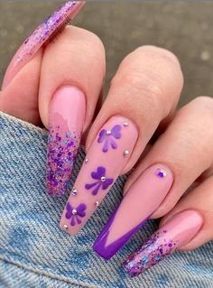 ThereBeauty 4 Trends of Nails Beauty in 2020 French nails style, back to the nails, make life more fun;Natural nails, best just natural. Purple Acrylic Nails, Summer Acrylic Nails, Best Acrylic Nails, Purple Nails, Bling Nails, Acrylic Colors, Violet Nails, Brown Nails, Nail Swag