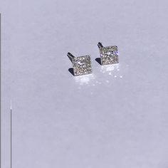 14k White Gold Square Diamond Stud Earrings, Princess Cut Diamond Earrings, Pave Diamond Earrings, Stud Earrings, Wedding Jewelry, Delicate by MilestonesByABC on Etsy