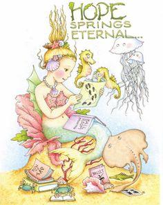 Mary Engelbreit-HOPE SPRINGS ETERNAL Mermaid Seahorse Dance Greeting Card-NEW! | eBay