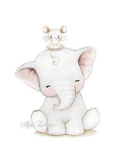 Nursery print LITTLE MOUSE and ELEPHANT Archival