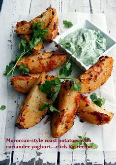 "Moroccan Style Roast Potatoes with Coriander Yoghurt.....APPETIZER RECIPES FOR YOUR NEXT PARTY!!.... one of the tapas recipes in my latest ""Wanderlust Food Diaries"" article, ""Baila Me"" (Dance with Me), In Granada, Spain...and a quick note on how to make healthy appetizers"