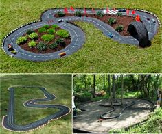 Learn how to make a Backyard Race Car Track for the kids. This is an easy DIY and it will keep the family entertained for hours. Race Car Track, Race Cars, Kids Fun, Cool Kids, Outdoor Ideas, Outdoor Decor, Garden Yard Ideas, Yard Games, Backyard For Kids