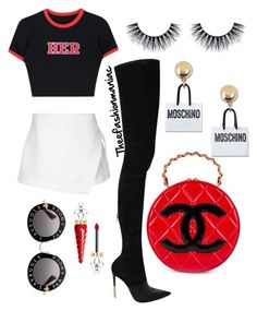 """Varsity"" by omg-imafashionista on Polyvore featuring Chanel, Dion Lee, Balmain, Moschino, Christian Louboutin and Gucci"