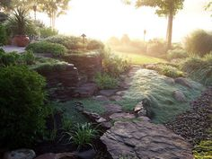 Our Favorite DIY Gardens from Rate My Space: Early morning fog settles in the garden making the bluish wooly thyme ground cover look like water spilling into a dry creek bed. Posted by Rate My Space contributor blondegardener.  From DIYnetwork.com