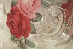 shabby chic roses vintage drey perfect mason by sparkklejar, $15.00
