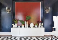 Eclectic Black Living Room with White Lacquered Cabinet