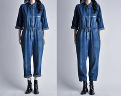vintage baggy denim jumpsuit / s by persephonevintage on Etsy