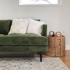Ready to Ship, Quick! Choose from a selection of our best-selling products in our most popular upholsteries and have them quickly shipped to your door! Bohemian Living Rooms, Living Room Green, Green Home Decor, Couches Living Room, Green Couch Living Room, Home Decor, House Interior, Flat Decor, Family Room Colors