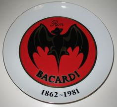 Ron Bacardi Rum Collector's Plate featuring the bat device logo. This plate was created for the 119th anniversary in 1981. #bacardi #rum #mancave