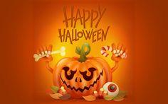 Download wallpapers Halloween, pumpkin, autumn holiday, October 31, 3d orange pumpkin, poster