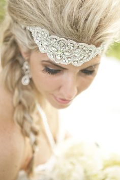 Beautiful headpiece. And a braid for a wedding, who would have thought?!