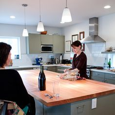 Kitchen Tour: Adrian and Gregg's Pacific Northwest Kitchen Kitchen Island Storage, Wood Kitchen Island, Kitchen Dining, Live Edge Countertop, Wood Countertops, Apartment Renovation, Apartment Therapy, Island With Stove, Real Kitchen
