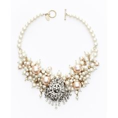 Ann Taylor Large Pearlized Bead And Crystal Statement Necklace ($125) ❤ liked on Polyvore featuring jewelry, necklaces, accessories, toggle necklace, ann taylor jewelry, crystal bead necklace, beaded jewelry and crystal necklace