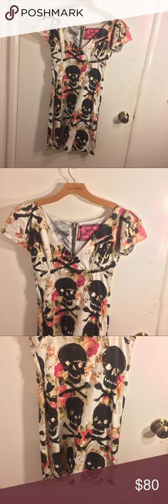 Peach Berserk Skull Floral Dress Authentic and rare designer mini dress size small from a designer boutique in New York named Peach Berserk. The designer creates every print herself, designs the cut herself, silk screen prints her creations onto fabric, and then creates a unique and head turning dress and every single dress is unique and made by her own two hands. In like new condition. Peach Berserk Dresses Mini