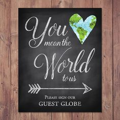Rustic wedding guest book sign - You mean the world to us please sign our guest…