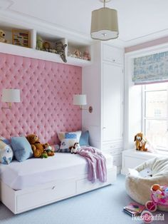 Kids Room with Pink Upholstered Wall