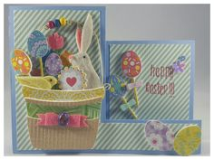 3/29/17 - Happy Easter!!!... #cards #handmade #stamps #stamping #paper #papercrafting #cardstock #glitter #ribbon #sequins #eastercard #easter #happyeaster #easterbasket #easterbunny #eastereggs #chick #pastels