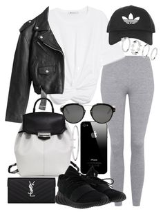 """Untitled #21162"" by florencia95 ❤ liked on Polyvore featuring Topshop, Jean-Paul Gaultier, Alexander Wang, Yves Saint Laurent, adidas and Christian Dior"