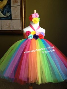 Rainbow color tutu dress birthday party photo girl  baby shower  dressing up flower girl picture newborn to 8years