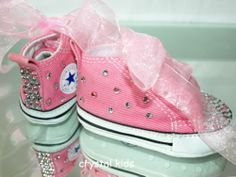 Gorgeous Baby Girls Reborn Pink Blinged Converse Boots UK 1 EU 16 Like New  | eBay · Converse BootsBling ConverseShoesBaby ...