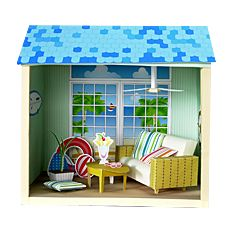 Sencilla y divertida maqueta 3D de una casa de muñecas de verano, podéis descargar más utensilios para las casa de muñecas.