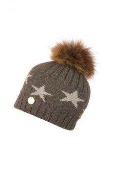 df4e1bd81f6 POPSKI LONDON CHARCOAL STARRY HAT WITH NATURAL POM POM.  popskilondon
