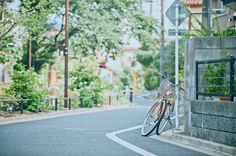 Beautiful bike on road W Two Worlds, Between Two Worlds, Film Photography, Street Photography, The Garden Of Words, Japanese Photography, Japan Street, Kimi No Na Wa, A Silent Voice