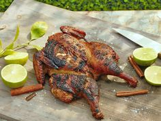Smoked Ginger Chicken with Cardamom, Cloves and Cinnamon recipe from Bobby Flay via Food Network