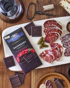 This sophisticated recipe has real #raspberry pieces surrounded by raspberry-infused Intense #darkchocolate.  A perfect moment on its own or try #pairing with #Zinfandel and a charcuterie plate. #Ghirardelli #IntenseDark #chocolate
