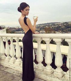Купить Черное платье с открытой спиной - черный, черное платье, вечернее платье, длинное платье