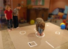 Create obstacle courses, jumping challenges, twisting games and more with floor targets.