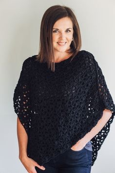 This is an easy-to-crochet poncho pattern featuring a lacy stitch and asymmetrical construction.