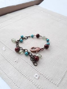 Teal Outfits, Brown Outfit, Vintage Bracelet, Blue Brown, Beaded Bracelets, Etsy Shop, Trending Outfits, Stylish, Unique Jewelry